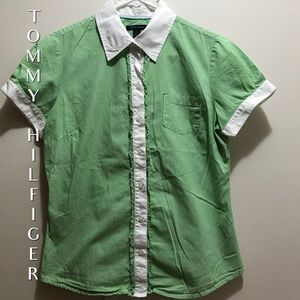 Tommy Hilfiger Green & White Gingham Blouse Size M